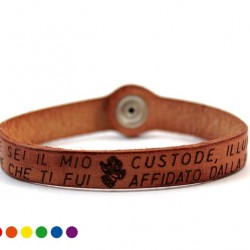 Lord's Angel Prayer Leather Bracelet with Button