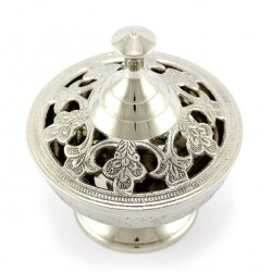 Silvery Incense Burner with Lilies 11.5 cm Diameter 10 cm
