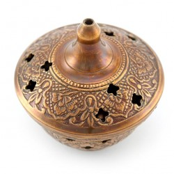 Copper Table Incense Burner 7 cm diameter 6.5 cm