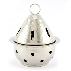 Round Silvery Incense Burner 14 cm diameter 11.5 cm