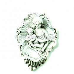 Porcelain Holy Water Font Virgin with Child 15x10 cm