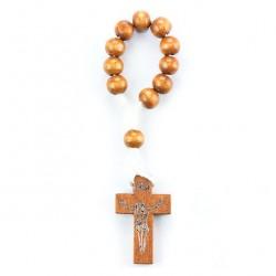 Single Decade Rosary Cord Wooden grain 7 mm