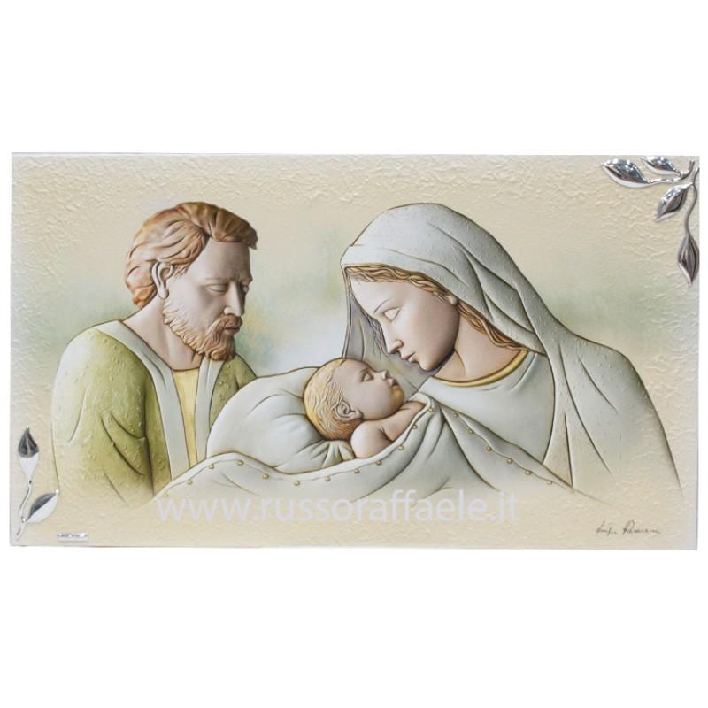 Quadro Sacra Famiglia Particolari Argento 40x70 Cm