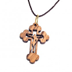 Olive Wood Cross with carving 3x2 cm