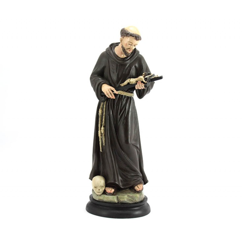 St Francis Of Assisi 1700 Style Wooden Statue 38 Cm